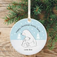 Ceramic Aunty Keepsake Christmas Decoration - Polar Bear Design